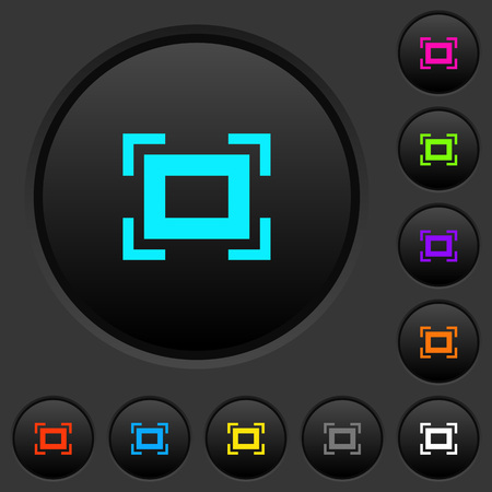 Full screen dark push buttons with vivid color icons on dark grey background Ilustração