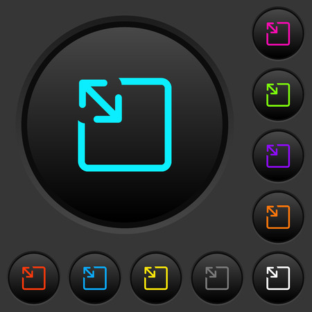Resize object dark push buttons with vivid color icons on dark grey background Иллюстрация