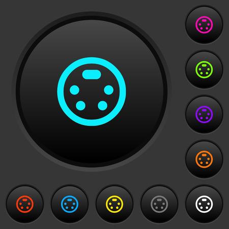 S-video connector dark push buttons with vivid color icons on dark grey background Banco de Imagens - 111776314