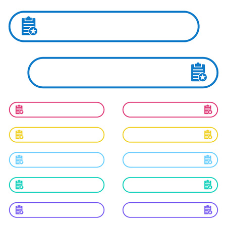 Marked note icons in rounded color menu buttons. Left and right side icon variations.