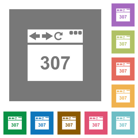 Browser 307 temporary redirect flat icons on simple color square backgrounds Vectores