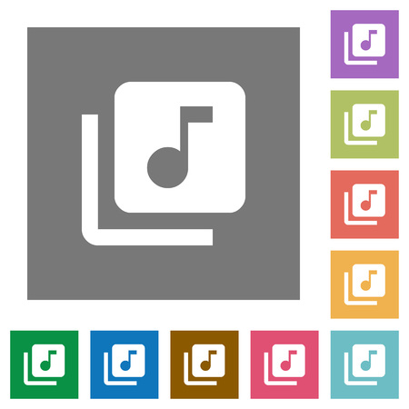 Music library flat icons on simple color square backgrounds