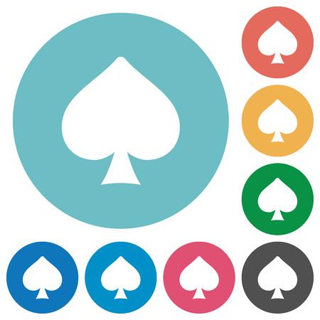 Icone bianche piatte simbolo della carta di picche su sfondi rotondi di colore