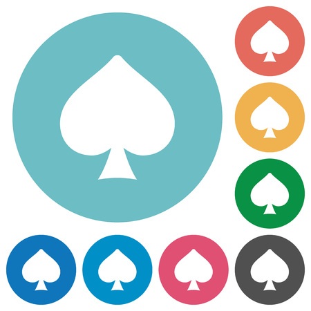 Spades card symbol flat white icons on round color backgrounds