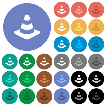 Traffic cone multi colored flat icons on round backgrounds. Included white, light and dark icon variations for hover and active status effects, and bonus shades on black backgounds. Illustration