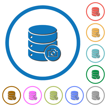 Database snapshot flat color vector icons with shadows in round outlines on white background Vectores