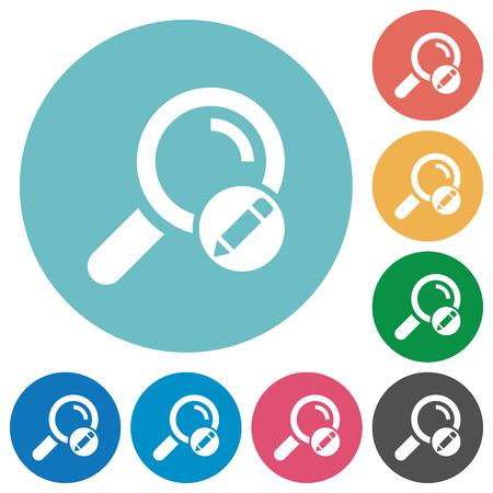 Edit search terms flat white icons on round color backgrounds Vektoros illusztráció