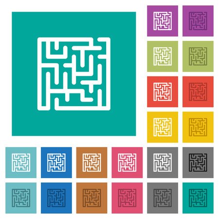 Labyrinth multi colored flat icons on plain square backgrounds. Included white and darker icon variations for hover or active effects.