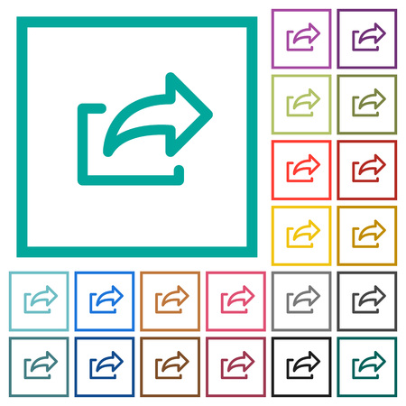 Export symbol flat color icons with quadrant frames on white background