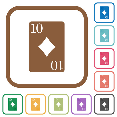 Ten of diamonds card simple icons in color rounded square frames on white background