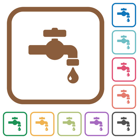 Water faucet with water drop simple icons in color rounded square frames on white background Illustration