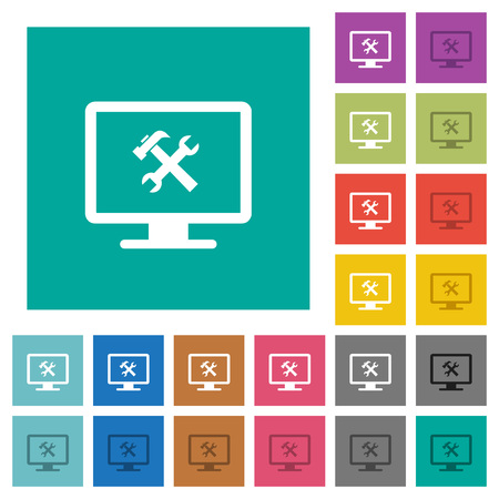 Desktop tools multi colored flat icons on plain square backgrounds. Included white and darker icon variations for hover or active effects.