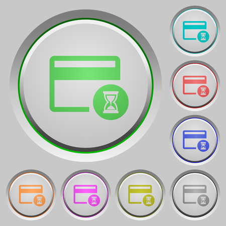 Credit card operation in progress color icons on sunk push buttons Illustration