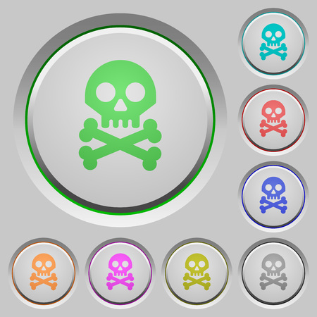 Skull with bones color icons on sunk push buttons