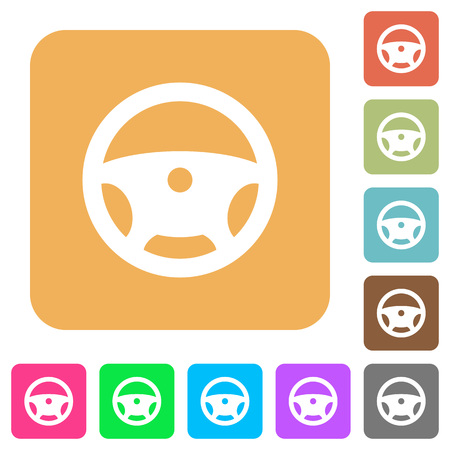 Steering wheel flat icons on rounded square vivid color backgrounds. Illustration