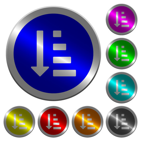 Ascending ordered list mode icons on round luminous coin-like color steel buttons