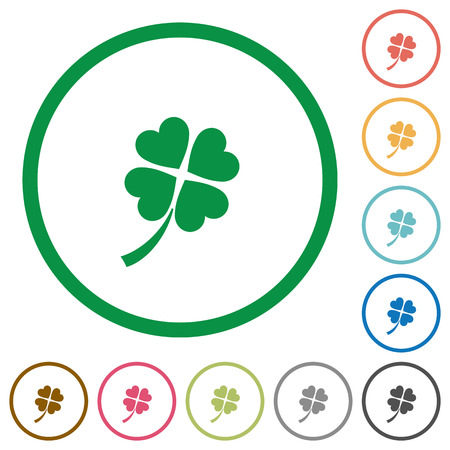 Four leaf clover flat color icons in round outlines on white background