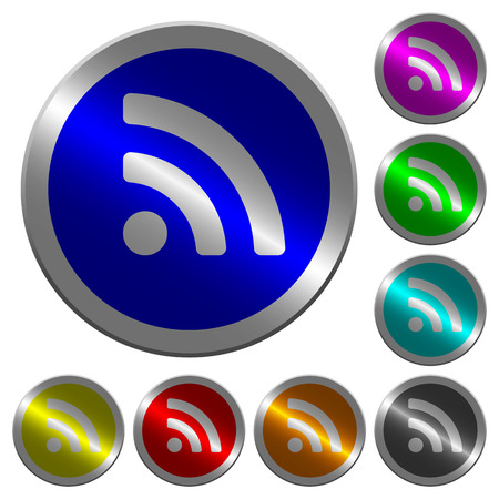 Radio signal icons on round luminous coin-like color steel buttons