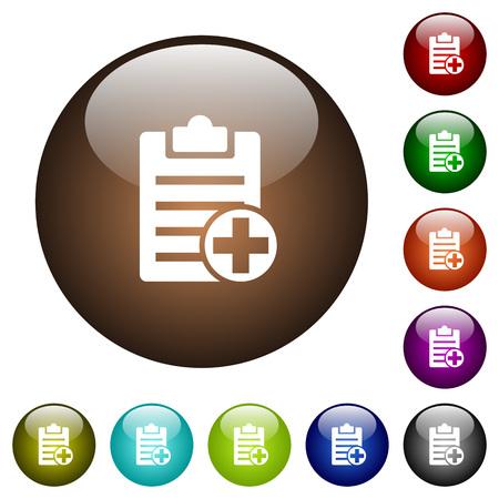 Agregue nuevos íconos de notas blancas en botones redondos de vidrio de color Ilustración de vector