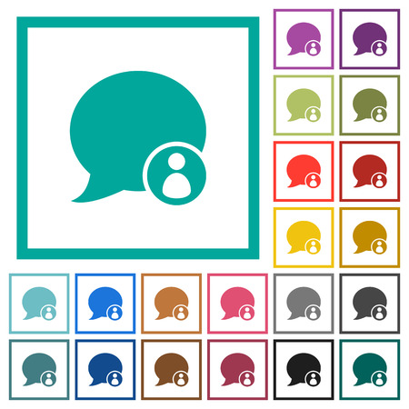 Blog comment sender flat color icons with quadrant frames on white background Stock Illustratie