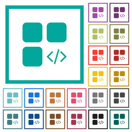 Component programming flat color icons with quadrant frames on white background