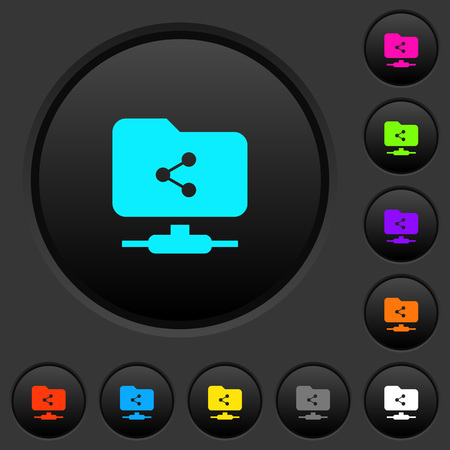 FTP share dark push buttons with vivid color icons on dark grey background