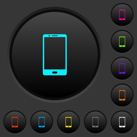 Modern mobile phone with one button dark push buttons with vivid color icons on dark grey background