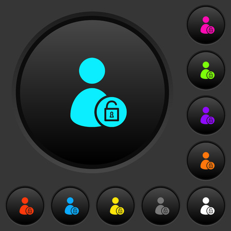 Unlock user account dark push buttons with vivid color icons on dark grey background Illustration