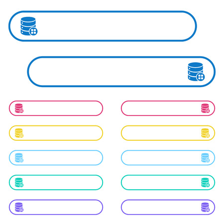 Database modules icons in rounded color menu buttons. Left and right side icon variations. Ilustração