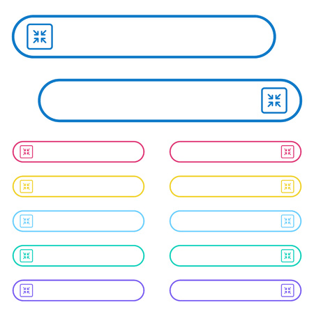 Shrink object icons in rounded color menu buttons. Left and right side icon variations. Иллюстрация