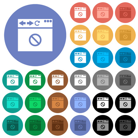 Browser disabled multi colored flat icons on round backgrounds. Included white, light and dark icon variations for hover and active status effects, and bonus shades on black backgounds. Illustration