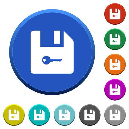 Encrypt file round color beveled buttons with smooth surfaces and flat white icons Ilustração