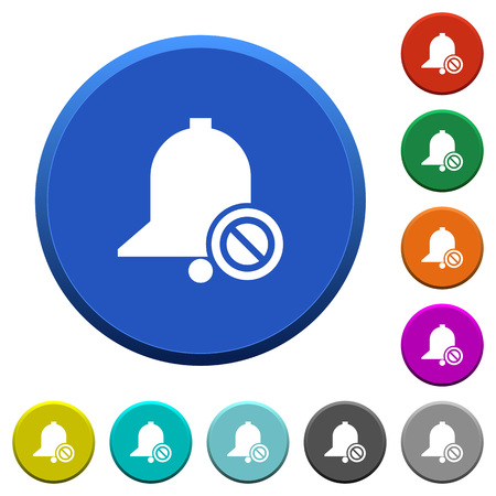 Disable reminder round color beveled buttons with smooth surfaces and flat white icons Ilustrace