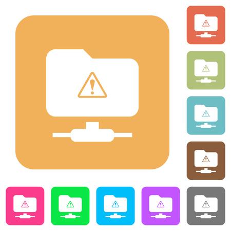 FTP warning flat icons on rounded square vivid color backgrounds. Vektorgrafik