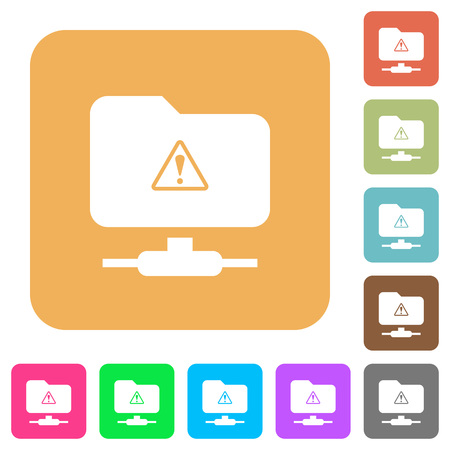 FTP warning flat icons on rounded square vivid color backgrounds.