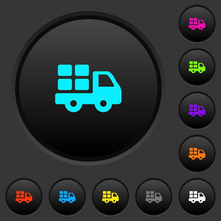 Transport dark push buttons with vivid color icons on dark grey background