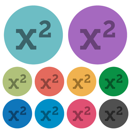 Math exponentiation darker flat icons on color round background