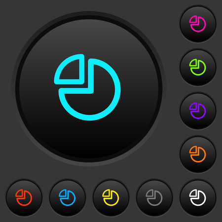 Pie chart dark push buttons with vivid color icons on dark grey background 向量圖像