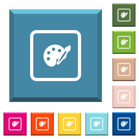 Adjust object color white icons on edged square buttons in various trendy colors Illustration
