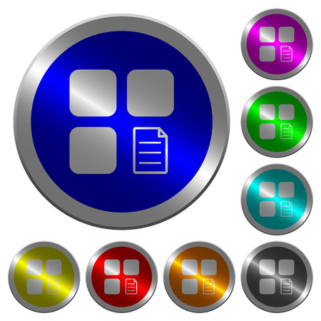 Component properties icons on round luminous coin-like color steel buttons