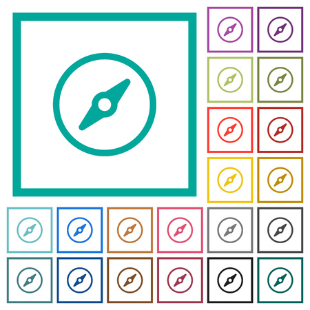 Simple compass flat color icons with quadrant frames on white background Illustration