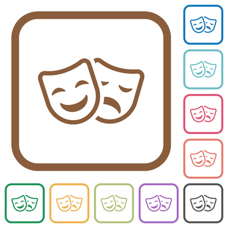 Comedy and tragedy theatrical masks simple icons in color rounded square frames on white background