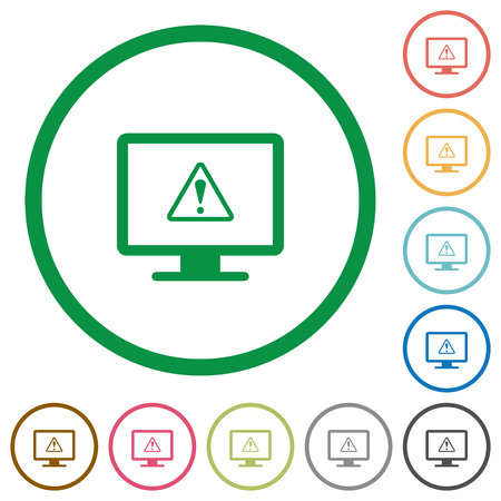Display warning flat color icons in round outlines on white background