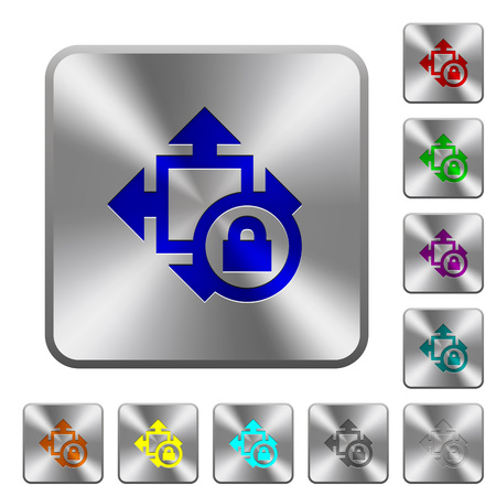 Size lock engraved icons on rounded square glossy steel buttons
