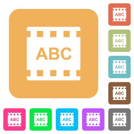 Movie subtitle flat icons on rounded square vivid color backgrounds. Illusztráció