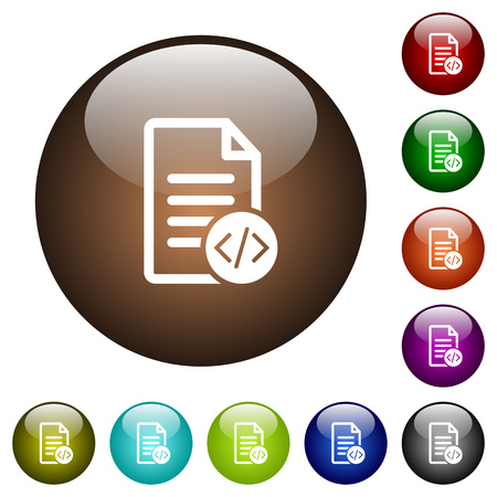 Source code document white icons on round color glass buttons
