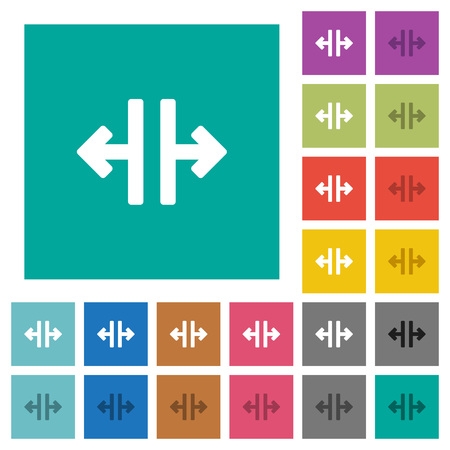 Vertical split tool multi colored flat icons on plain square backgrounds. Included white and darker icon variations for hover or active effects.
