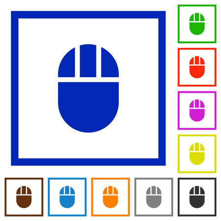 Three buttoned computer mouse flat color icons in square frames on white background
