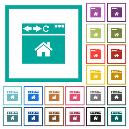 Browser home page flat color icons with quadrant frames on white background