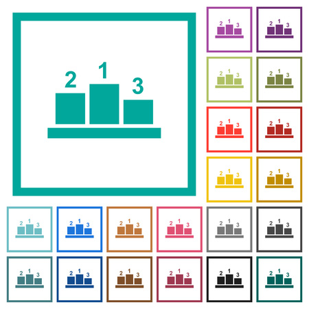 Winners podium with outside numbers flat color icons with quadrant frames on white background